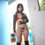 平嶋夏海グラビア動画 メタリック赤ビキニ&黒ブーツで決める女子ライダー